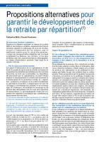 Propositions alternatives pour garantir le développement de la retraite par répartition(1)