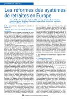 Les réformes des systèmes de retraites en Europe
