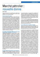 Marché pétrolier :  nouvelle donne