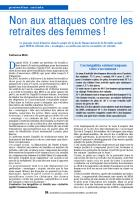 Non aux attaques contre les retraites des femmes !