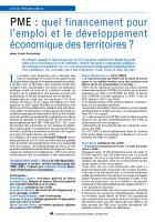 PME : quel financement pour l'emploi et le développement économique des territoires ?