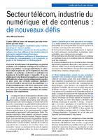 Secteur télécom, industrie du numérique et de contenus : de nouveaux défis