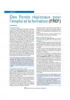 Des Fonds régionaux pour l'emploi et la formation (FREF)
