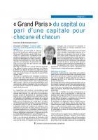 « Grand Paris » du capital ou pari d'une capitale pour chacune et chacun