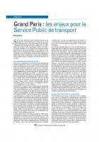 Grand Paris : les enjeux pour le  Service Public de transport