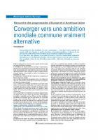 Converger vers une ambition mondiale commune vraiment alternative