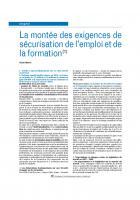 La montée des exigences de sécurisation de l'emploi et de la formation(1)