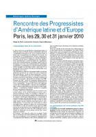 Rencontre des Progressistes d'Amérique latine et d'Europe Paris, les 29, 30 et 31 janvier 2010
