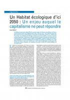 Un Habitat écologique d'ici  2050 : Un enjeu auquel le  capitalisme ne peut répondre