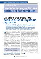 la crise des retraites  dans la crise du système  capitaliste