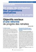Retraites : Objectifs sociaux d'une réforme  de progrès des  retraites