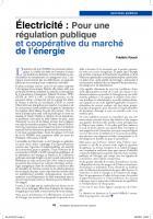 Electricité : pour une régulation publique  services  publics  et coopérative du    marché de   l'énergie