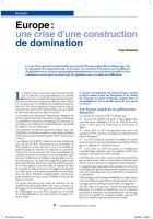 Europe :  une crise d'une construction  de domination