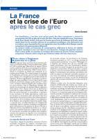 La France  et la crise de l'euro après le cas grec