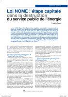 Loi  Nome : étape capitale dans la destruction du service public de l'énergie