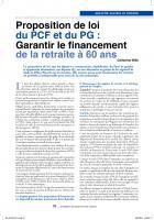Proposition de loi du pcF et du pG : Garantir le financement de   la  retraite à 60 ans