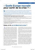 « Quelle europe nouvelle pour  sortir de  la  crise ?  »