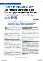 Face à la crise de l'euro: un  Fonds européen de développement social  et une création monétaire de la Bce