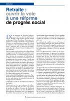 Retraite : ouvrir la voie àuneréforme de progrès social