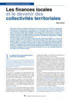 Les finances locales et le devenir des collectivités territoriales