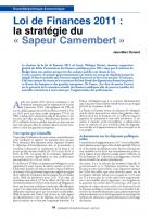 Loi de Finances 2011 : lastratégiedu «Sapeurcamembert»