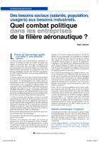 Des besoins sociaux (salariés, population, usagers) aux besoins industriels.  Quel combatpolitique dans lesentreprises de la filière aéronautique ?