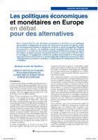 Les politiques économiques et monétaires en Europe en débat