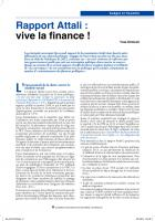 Rapport Attali : vive  la finance !