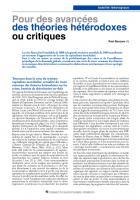 Pour des avancées  des théories hétérodoxes  ou critiques