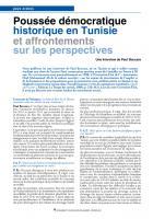 Poussée démocratique historique en Tunisie et affrontements sur les perspectives