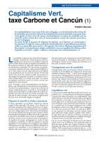 Capitalisme Vert, taxe Carbone et Cancún