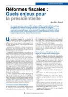 Réformes fiscales : Quels enjeux pour la présidentielle