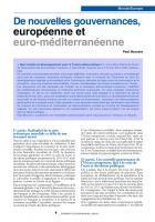 De nouvelles gouvernances européenne et euroméditerranéenne