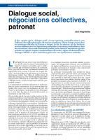 Dialoguesocial, négociationscollectives, patronat