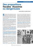 Projet du PS pour 2012 Des propositions fiscales illusoires ou dangereuses