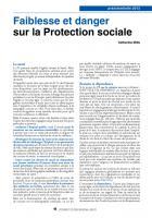 Projet du PS pour 2012 Faiblesse et danger sur la Protection sociale