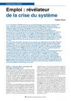 Emploi : révélateur de la crisedu système