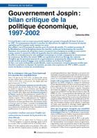 Gouvernement  Jospin : bilancritique de la politique économique,  1997-2002