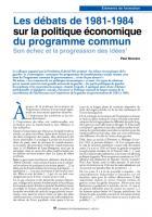 Les débats de 1981-1984 sur la politique économique du programmecommun Son échec et la progression des idées