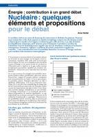 Énergie : contribution à un grand débat Nucléaire : quelques éléments etpropositions pour ledébat