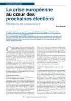 La crise européenne au coeur des prochaines élections éléments de conjoncture
