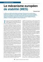 Le mécanismeeuropéen de stabilité(MES)