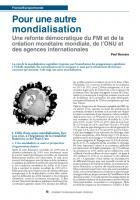 Pour une autre mondialisation. Une refonte démocratique du FMI et de la création monétaire mondiale, de l'ONU et des agences internationales