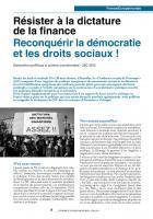 Résisteràladictature de la finance Reconquérir la démocratie etlesdroitssociaux!
