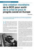 Unecréation monétaire de la BCEpoursortir de la crise et pour le progrès social en Europe