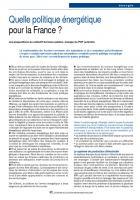 Quelle politique énergétique  pour la France ?