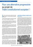 Pour une alternative progressiste au projet de Traité constitutionnel européen* !