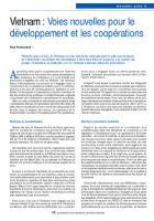 Vietnam : Voies nouvelles pour le développement et les coopérations
