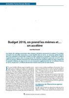 Budget 2016, on prend les mêmes et… on accélère