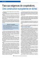 Face aux exigences de coopérations. Une construction européenne en échec